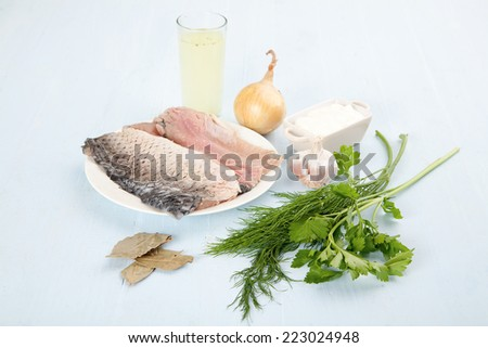 Ingredients for cooking on a blue background clouseup - stock photo