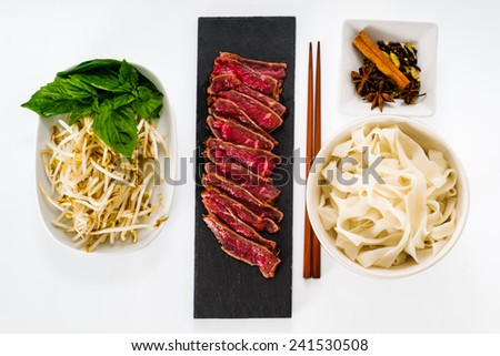 Ingredients for cooking Vietnamese Beef noodle soup - Pho - stock photo