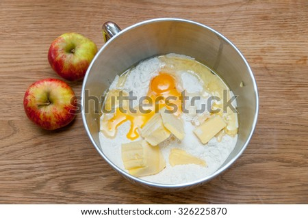ingredients for dough cake : eggs, butter, flour - stock photo