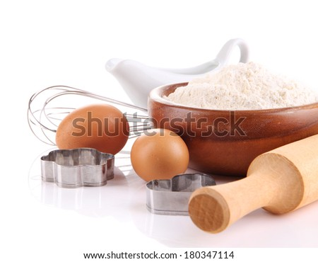 Ingredients for dough isolated on white - stock photo