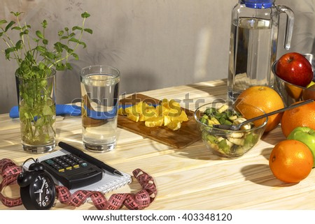 ingredients for fruit salad. healthy eating - stock photo