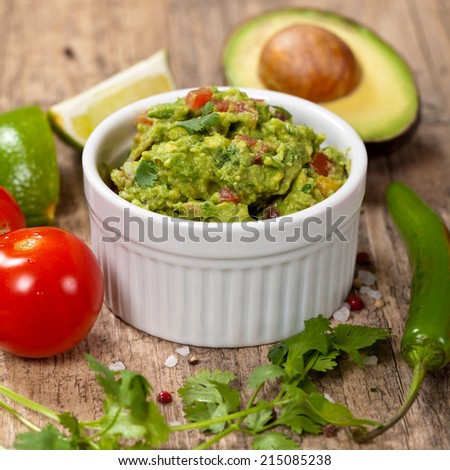 Ingredients for Guacamole and Guacamole dip. Selective focus. - stock photo