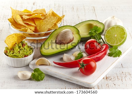 Ingredients for guacamole dip and nachos on white wooden background