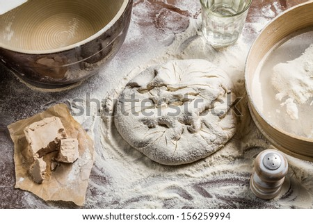 Ingredients for homemade dough for pizza - stock photo