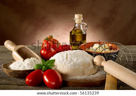 ingredients for homemade pizza - stock photo