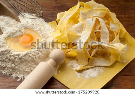 ingredients for italian homemade pasta - stock photo