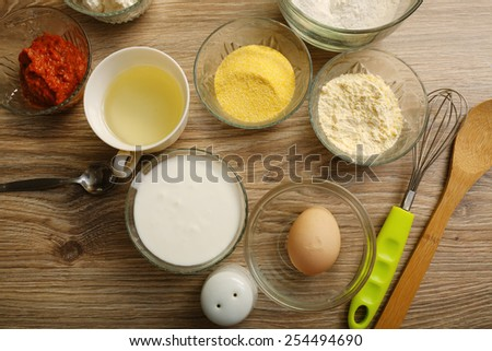 Ingredients for making salty muffins - stock photo