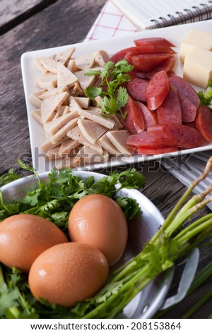 Ingredients for making Vietnamese style pan egg.