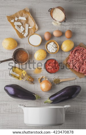 Ingredients for moussaka on the white table