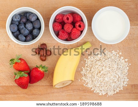 Ingredients for oatmeal with fresh fruit or smoothie - stock photo