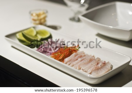 Ingredients for peruvian ceviche - stock photo