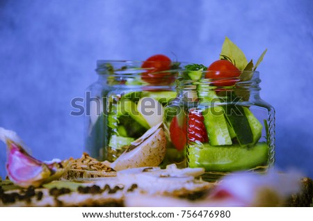 Ingredients for pickling cucumbers in banks
