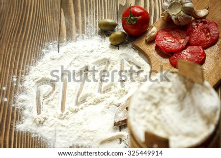 Ingredients for pizza - stock photo