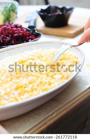 Ingredients for preparing russian traditional salad 'herring under fur coat' - stock photo