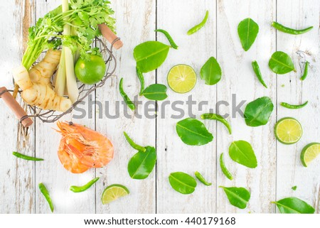 Ingredients for Thai Spicy Soup, Preparing, Flat Lay Style, TOM YUM - stock photo