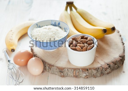 Ingredients for the banana almond pancakes, selective focus - stock photo