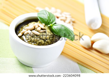 Ingredients for the spaghetti al pesto - stock photo