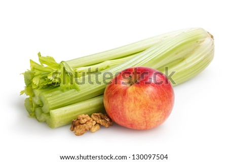 ingredients for waldorf salad, on white background - stock photo