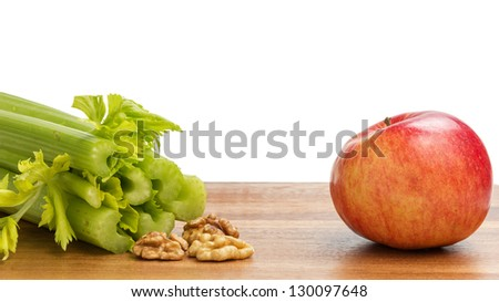ingredients for waldorf salad, on wood table - stock photo