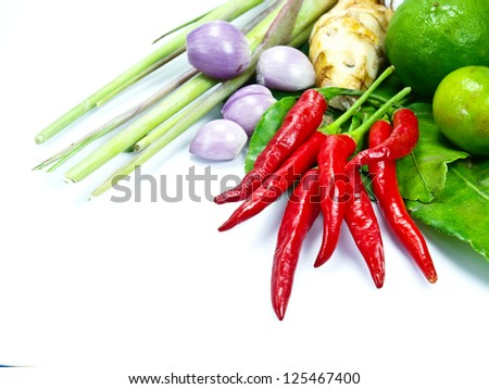 ingredients group of Tom yum(Thai food) - stock photo