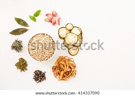 Ingredients, isolated on white