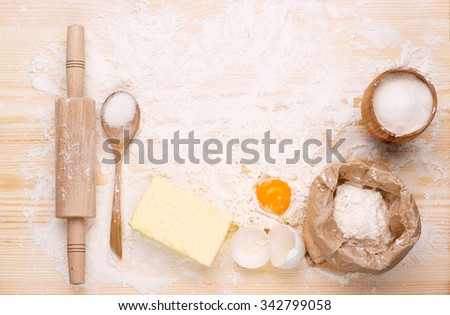 Ingredients of  homemade baking bread