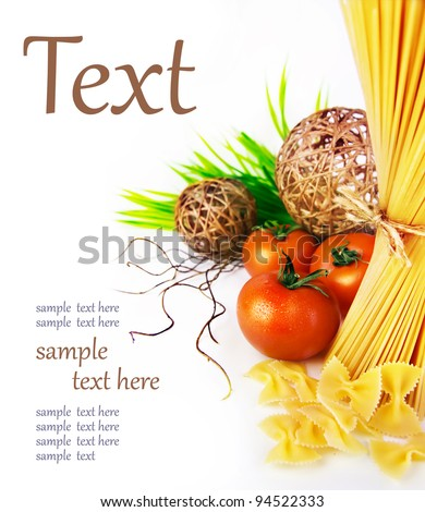 ingredients of pasta, tomatoes, herbs  (With sample text) - stock photo