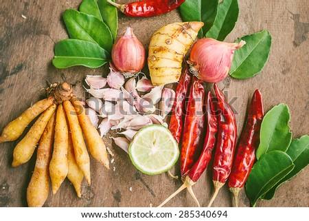 Ingredients of Thai spicy food, tom yum. - stock photo