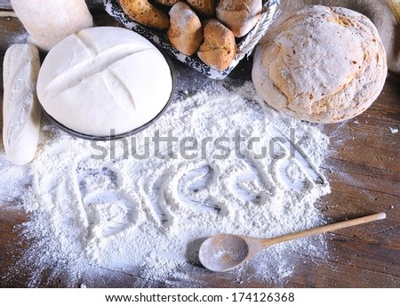 Ingredients on the table of the bakery.