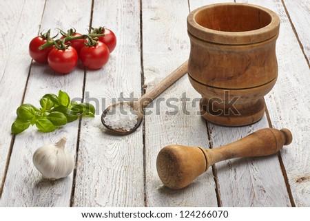 Ingredients to make pesto - stock photo