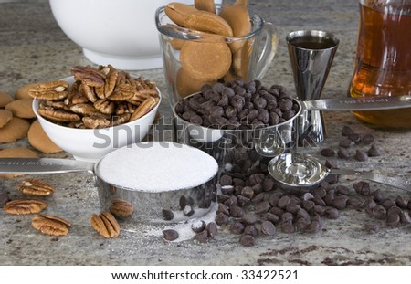 ingredients to make rum balls - a traditional christmas treat - stock photo