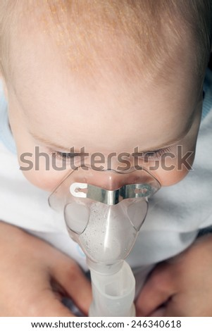 Inhalation child baby - stock photo