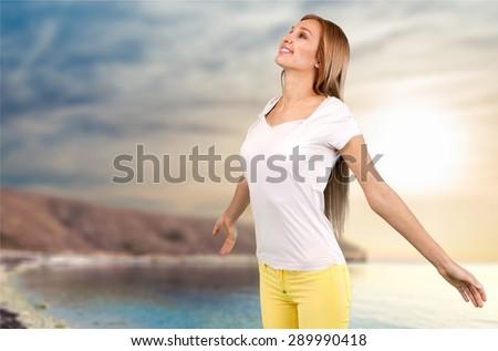 Inhaling, Breathing Exercise, Women. - stock photo