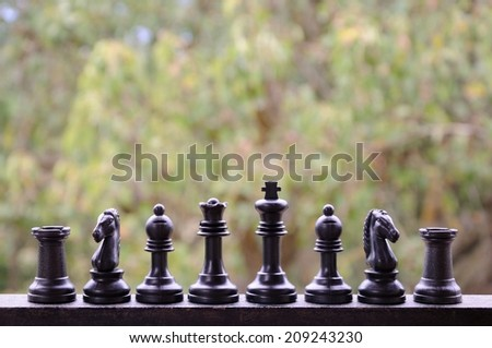 Initial position of black chess figures  - stock photo