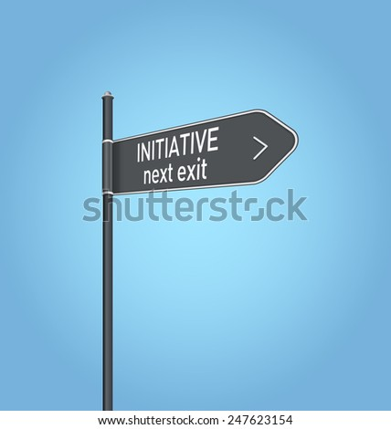 Initiative next exit, dark grey road sign concept on blue background - stock photo