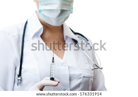 injection epidemic in doctor hand - stock photo