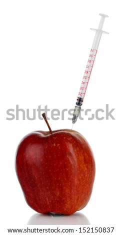 Injection into fresh red apple isolated on white