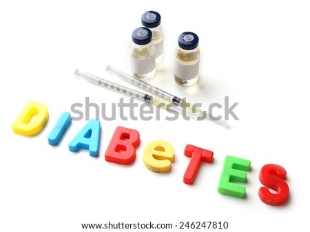 Injections and word Diabetes from colorful letters isolated on white - stock photo