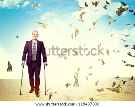 injured businessman and indemnification concept - stock photo