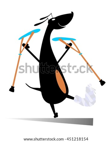 Injured dog. Comic dog with bandage and crutches  - stock photo