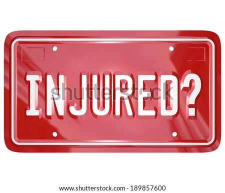 Injured License Plate Sue Lawsuit Car Accident Justice - stock photo