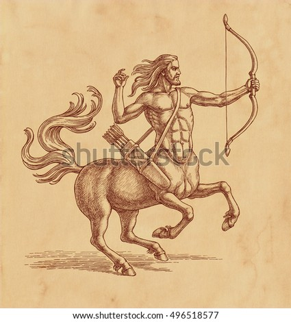 Ink and pen drawing, centaur archer on brown old paper.