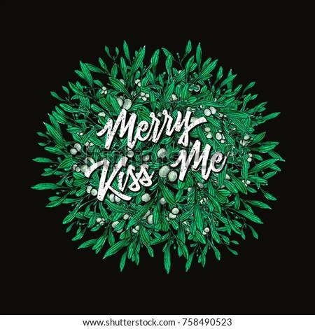 Ink watercolor christmas seasons greetings card stock illustration ink and watercolor christmas seasons greetings card with kissing ball new year eve xmas decoration m4hsunfo