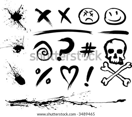 Ink Blotches and Symbols (also available in vector) - stock photo