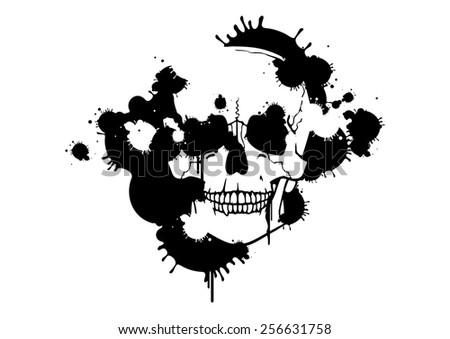 Ink blots creating a skull silhouette (raster version) - stock photo