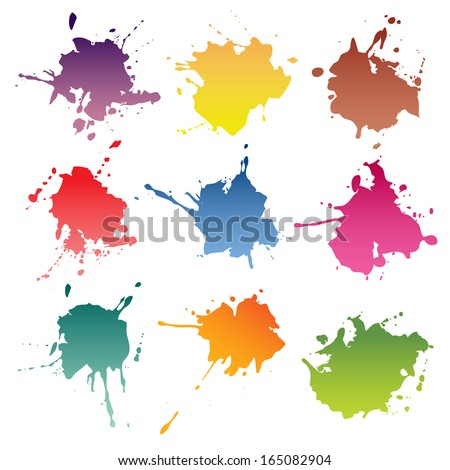 ink blots. paint stains - stock photo