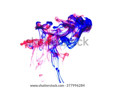 Ink. Blue. Red. Water. - stock photo