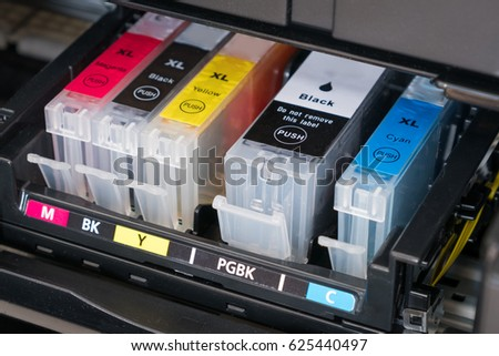 ink cartridges inside printer - open ink printer