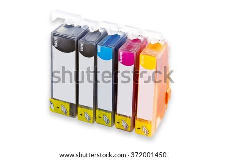 Ink Cartridges isolated on white background - stock photo