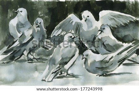 Ink doves. Doves. Washed ink on paper painting.  - stock photo